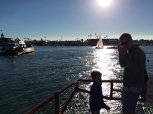 Riding the ferry takes 5 minutes and costs 1 dollar
